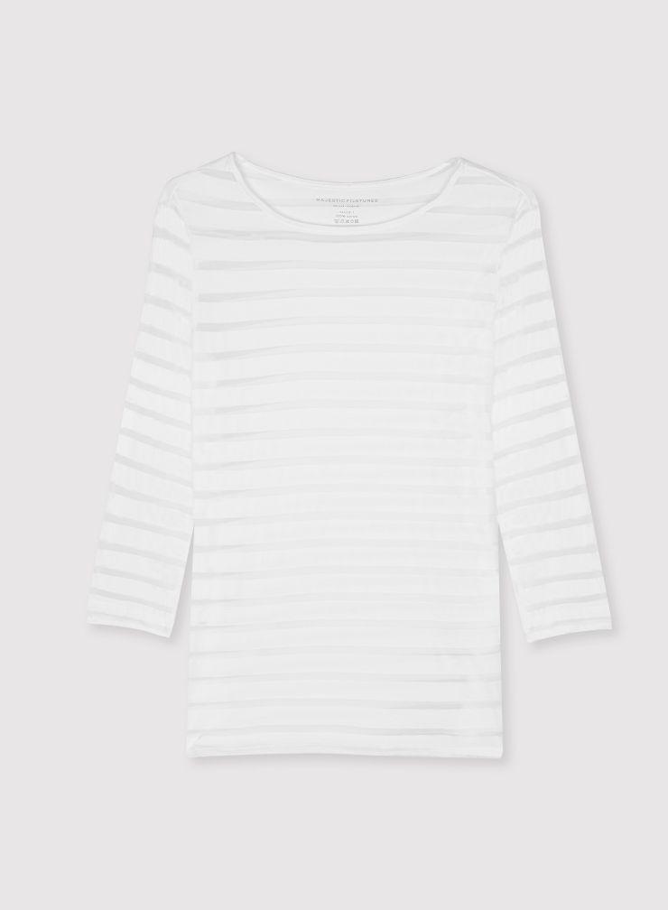 T-shirt col bateau manches 3/4 rayures