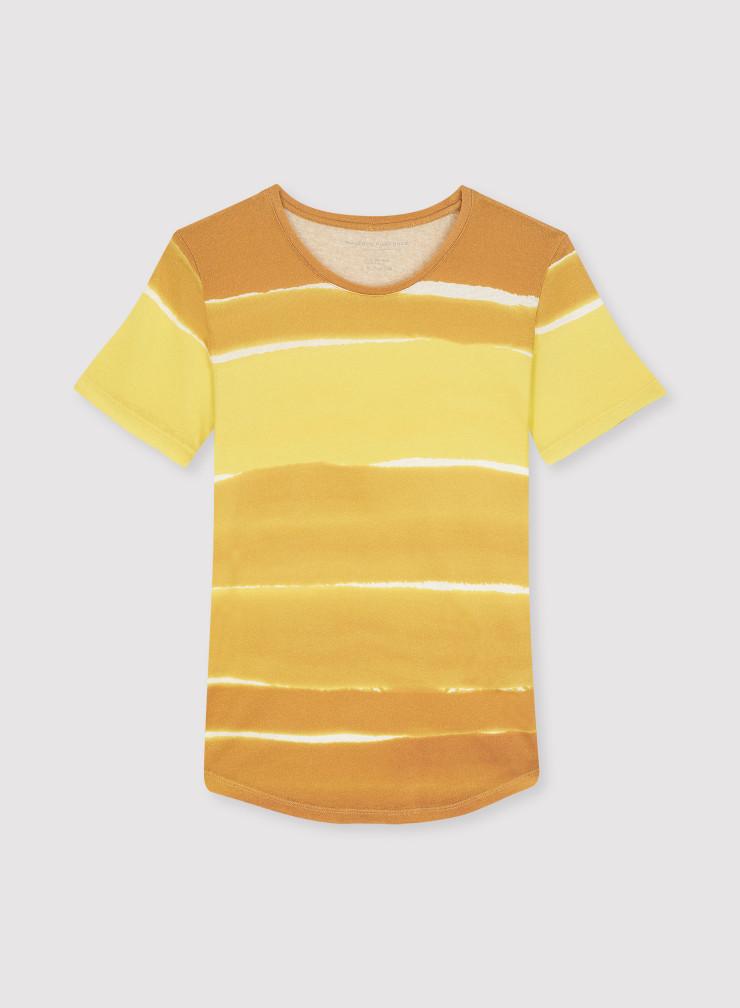 T-shirt col rond imprimé rayures grand lavis