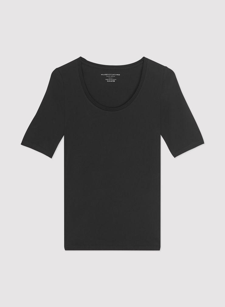 U neck elbow sleeves T-shirt