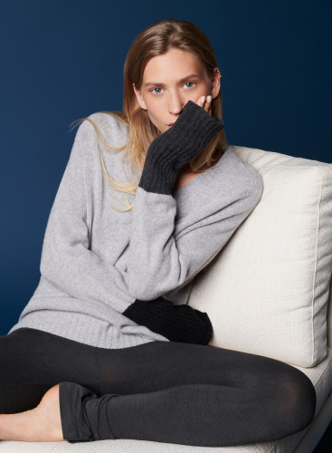 Three-colored V-neck sweater
