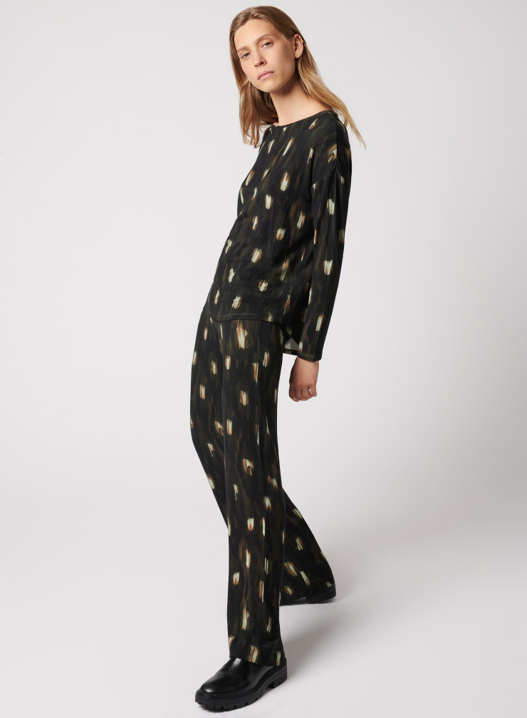 Peacock feather printed pants