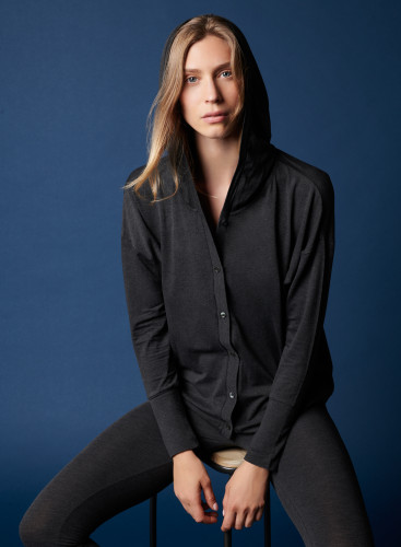 Hooded buttoned cardigan