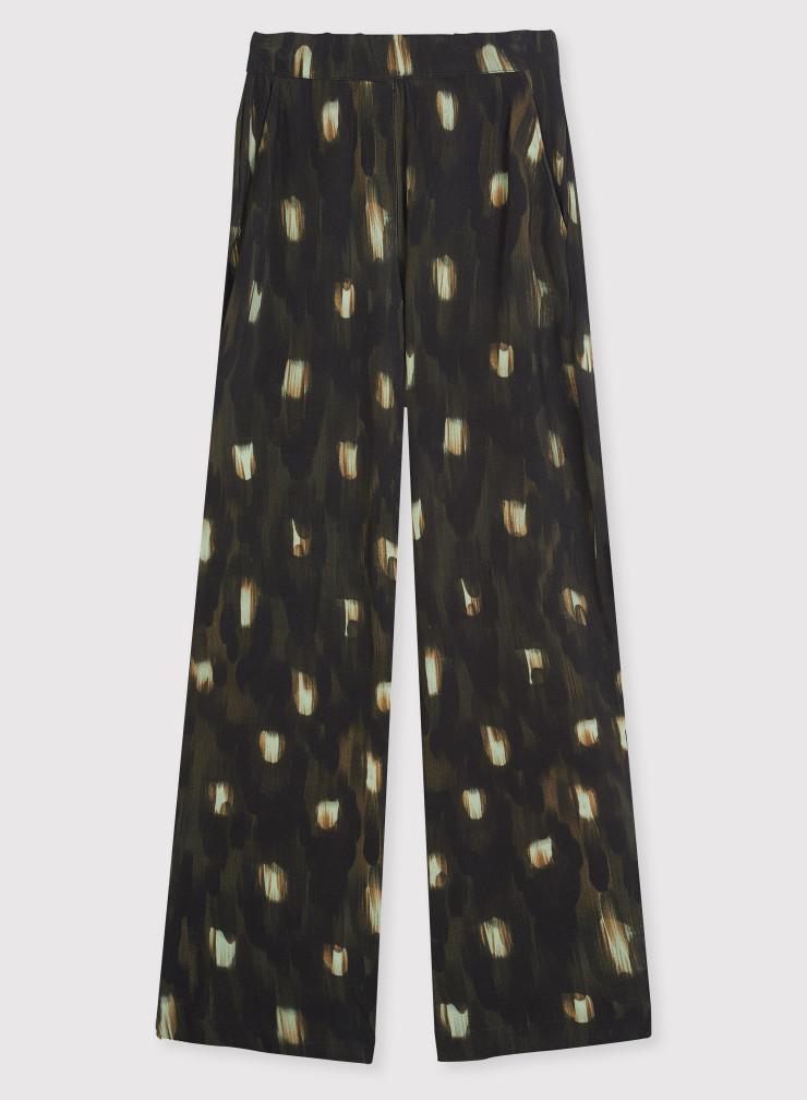 Pantalon imprimé plumes de paon