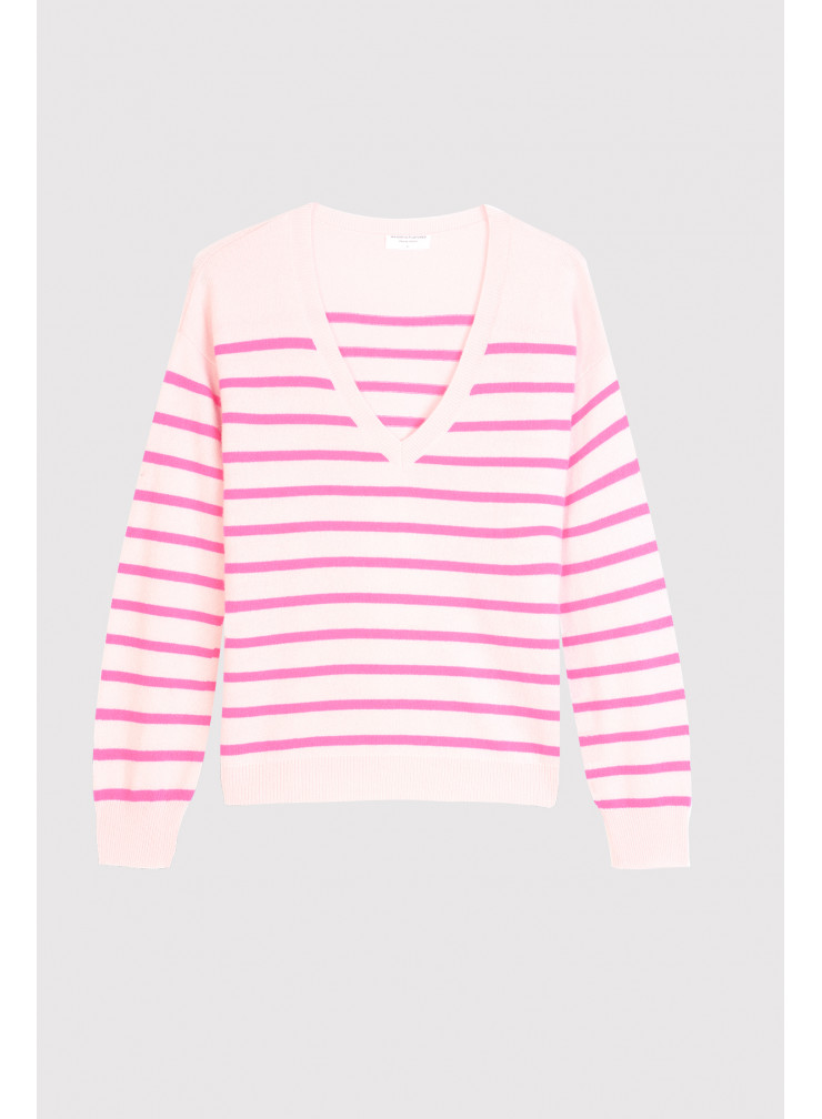V-neck sweater with stripes