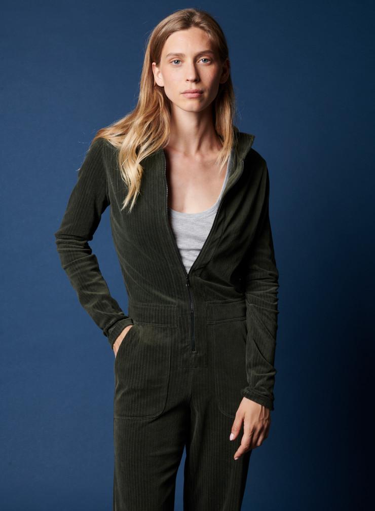 Zip-up corduroy jumpsuit