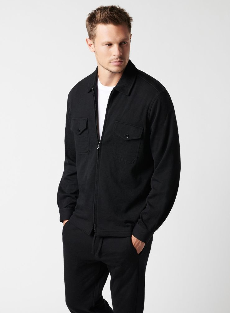 Zipped overshirt with pockets