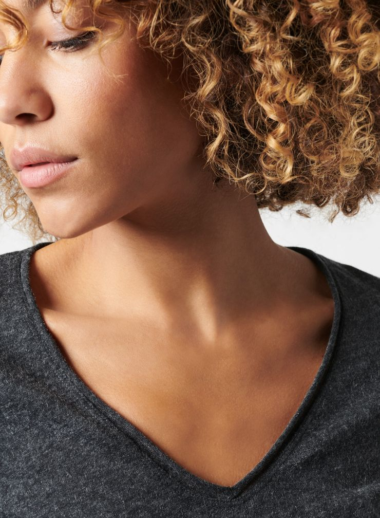 Carole rolled finish V-neck T-shirt