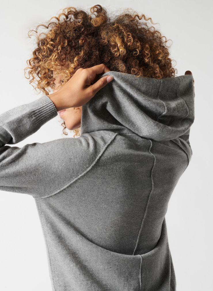 Sweat zippé à capuche en maille fine