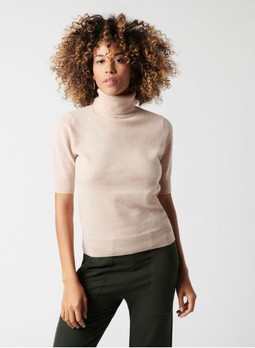 Pull col roulé manches 3/4