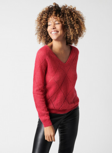 V-neck sweater with pointelle pattern