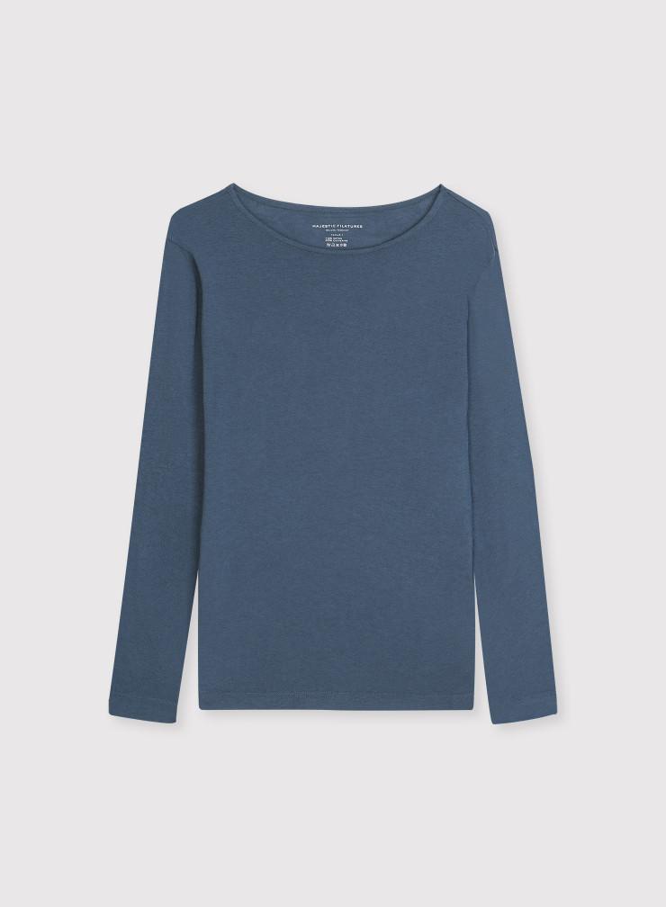 Long sleeve boat neck T-shirt