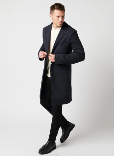 Two-tone herringbone coat